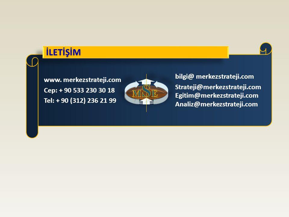 İLETİŞİM www. merkezstrateji.com Cep: + 90 533 230 30 18 Tel: + 90 (312) 236 21 99 bilgi@ merkezstrateji.com Strateji@merkezstrateji.com Egitim@merkez
