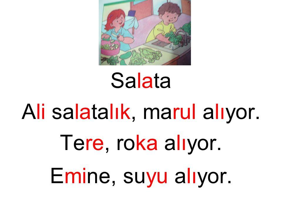 Salata Ali salatalık, marul alıyor. Tere, roka alıyor. Emine, suyu alıyor.