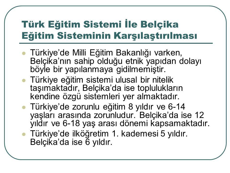 Türk Eğitim Sistemi İle Belçika Eğitim Sisteminin Karşılaştırılması Türkiye'de Milli Eğitim Bakanlığı varken, Belçika'nın sahip olduğu etnik yapıdan d