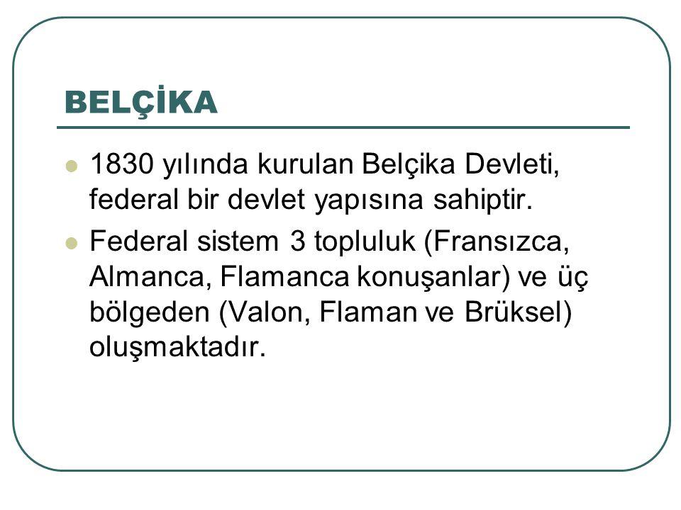 BELÇİKA 1830 yılında kurulan Belçika Devleti, federal bir devlet yapısına sahiptir. Federal sistem 3 topluluk (Fransızca, Almanca, Flamanca konuşanlar