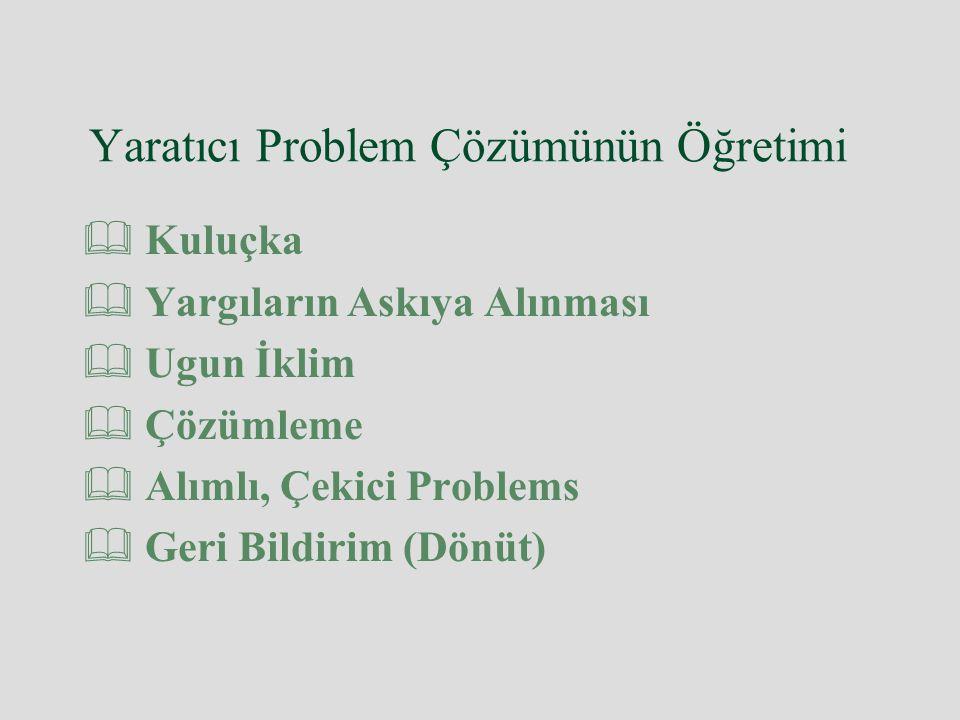 Yaratıcı Problem Çözümünün Öğretimi  Kuluçka  Yargıların Askıya Alınması  Ugun İklim  Çözümleme  Alımlı, Çekici Problems  Geri Bildirim (Dönüt)