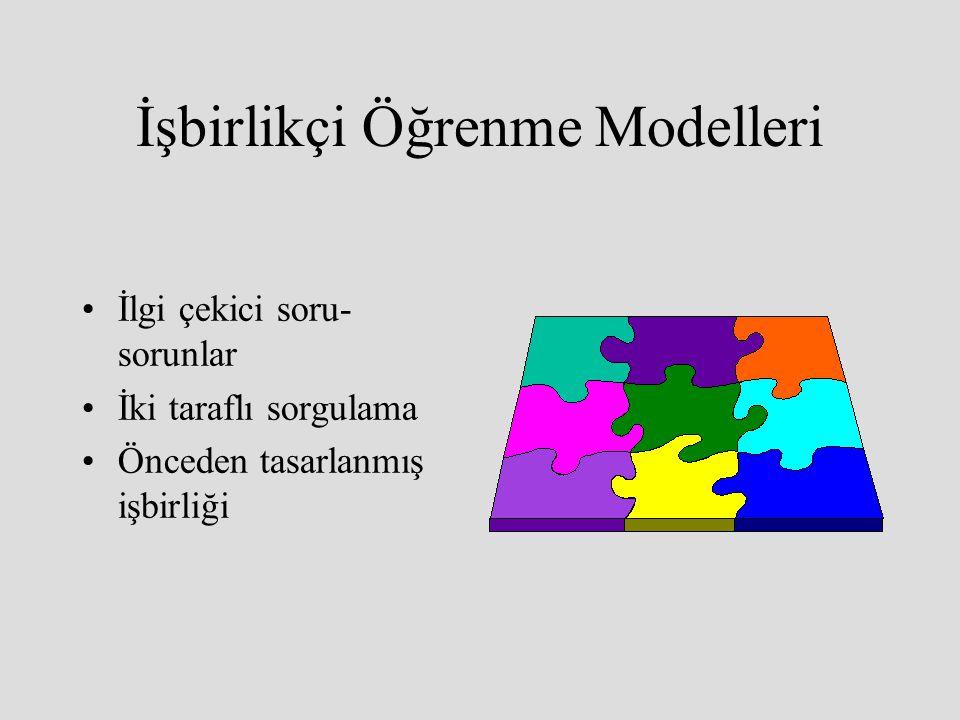 İşbirlikçi Öğrenme Modelleri İlgi çekici soru- sorunlar İki taraflı sorgulama Önceden tasarlanmış işbirliği