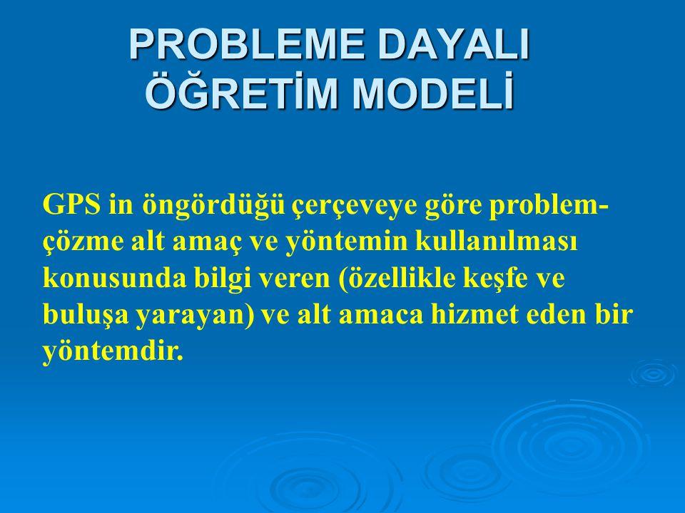 PROBLEME DAYALI ÖĞRETİM MODELİ Problem çözme teorisi Newel & Simon tarafından geliştirilen GPS (Genel Problem Çözücü) kavramı çalışmaları ile etkinlik