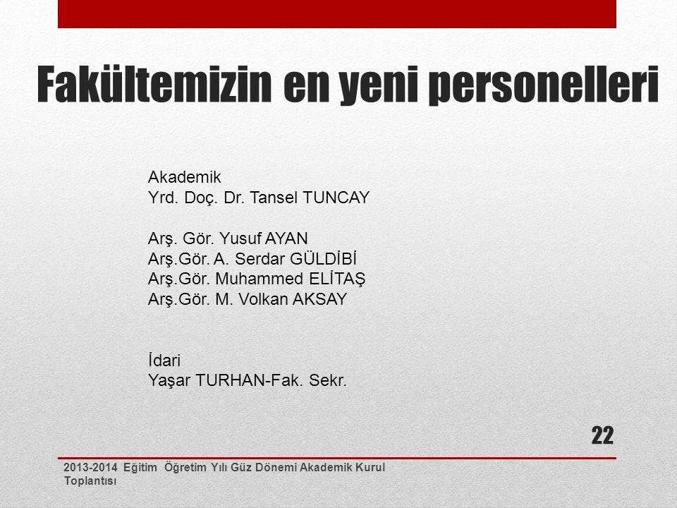 Fakültemizin en yeni personelleri 2013-2014 Eğitim Öğretim Yılı Güz Dönemi Akademik Kurul Toplantısı 22 Akademik Yrd. Doç. Dr. Tansel TUNCAY Arş. Gör.