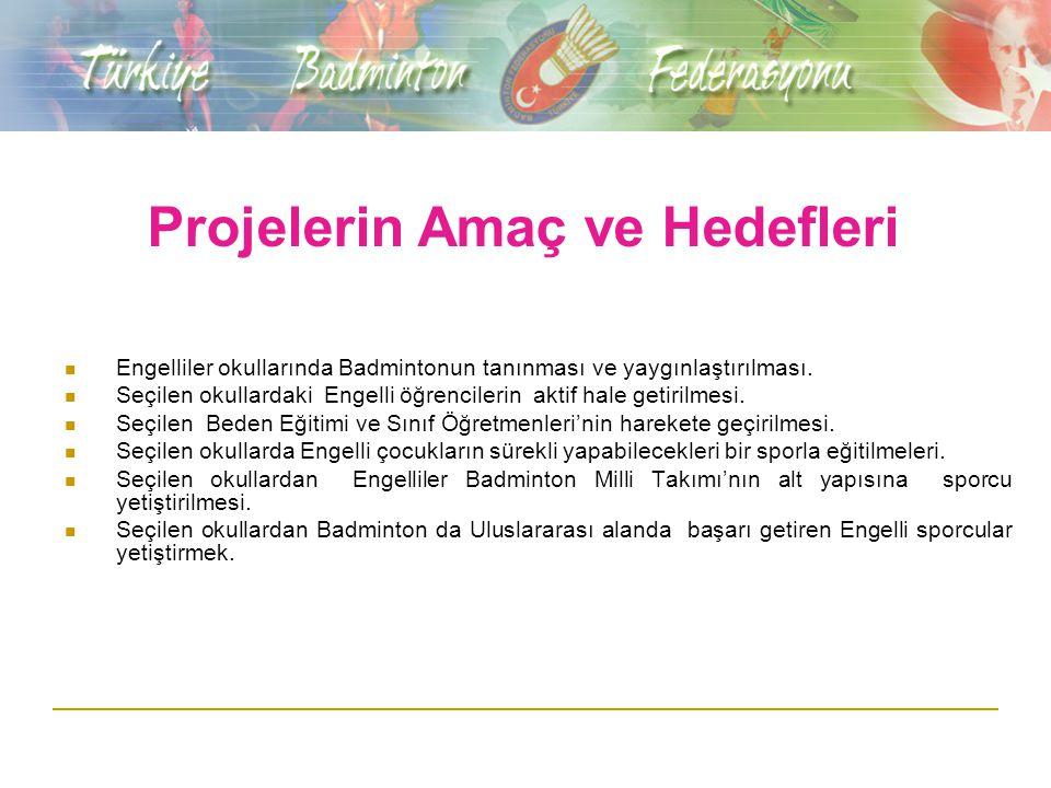 Projelerin Amaç ve Hedefleri Engelliler okullarında Badmintonun tanınması ve yaygınlaştırılması.