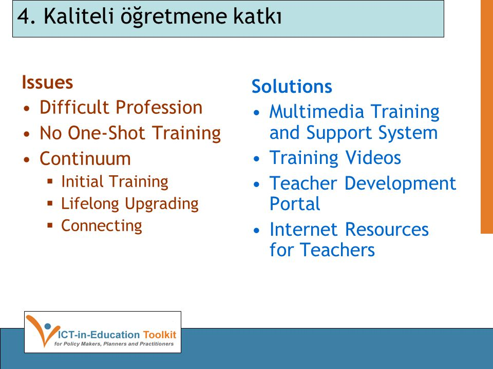 4. Kaliteli öğretmene katkı Issues Difficult Profession No One-Shot Training Continuum  Initial Training  Lifelong Upgrading  Connecting Solutions