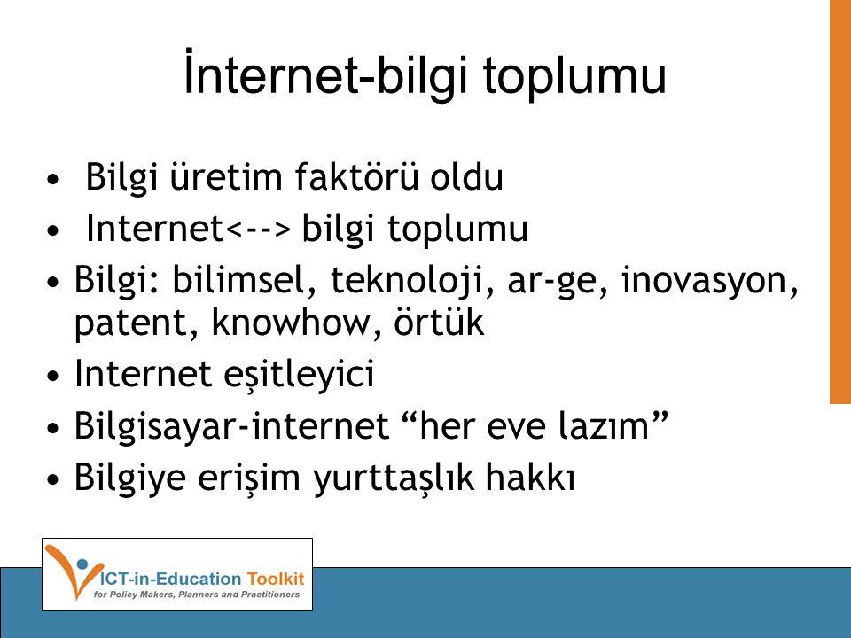 İnternet-bilgi toplumu Bilgi üretim faktörü oldu Internet bilgi toplumu Bilgi: bilimsel, teknoloji, ar-ge, inovasyon, patent, knowhow, örtük Internet eşitleyici Bilgisayar-internet her eve lazım Bilgiye erişim yurttaşlık hakkı