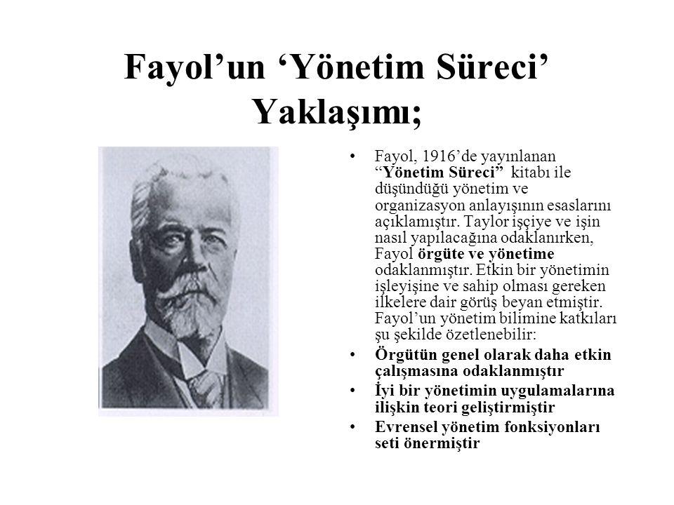 Fayol'un 'Yönetim Süreci' Yaklaşımı; Fayol, 1916'de yayınlanan Yönetim Süreci kitabı ile düşündüğü yönetim ve organizasyon anlayışının esaslarını açıklamıştır.