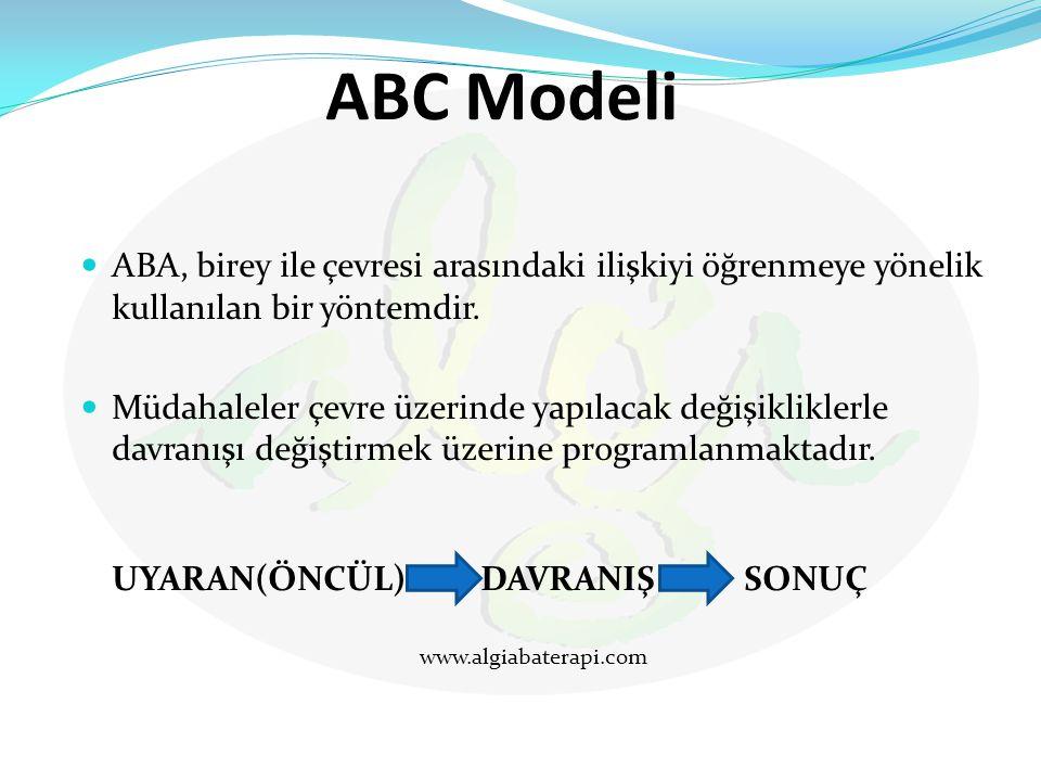 ABC Modeli ABA, birey ile çevresi arasındaki ilişkiyi öğrenmeye yönelik kullanılan bir yöntemdir. Müdahaleler çevre üzerinde yapılacak değişikliklerle