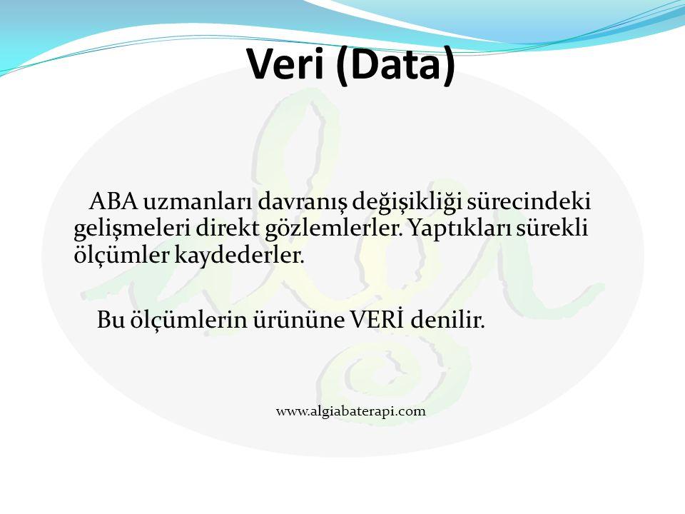 Veri (Data) ABA uzmanları davranış değişikliği sürecindeki gelişmeleri direkt gözlemlerler. Yaptıkları sürekli ölçümler kaydederler. Bu ölçümlerin ürü