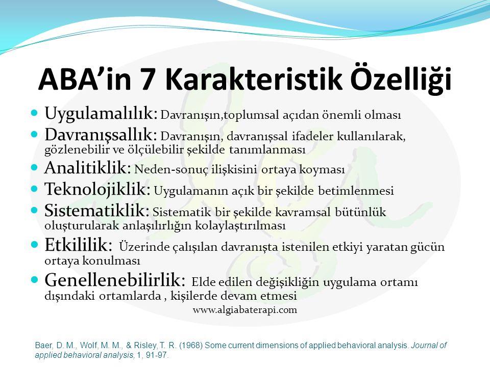ABA'in 7 Karakteristik Özelliği Uygulamalılık: Davranışın,toplumsal açıdan önemli olması Davranışsallık: Davranışın, davranışsal ifadeler kullanılarak