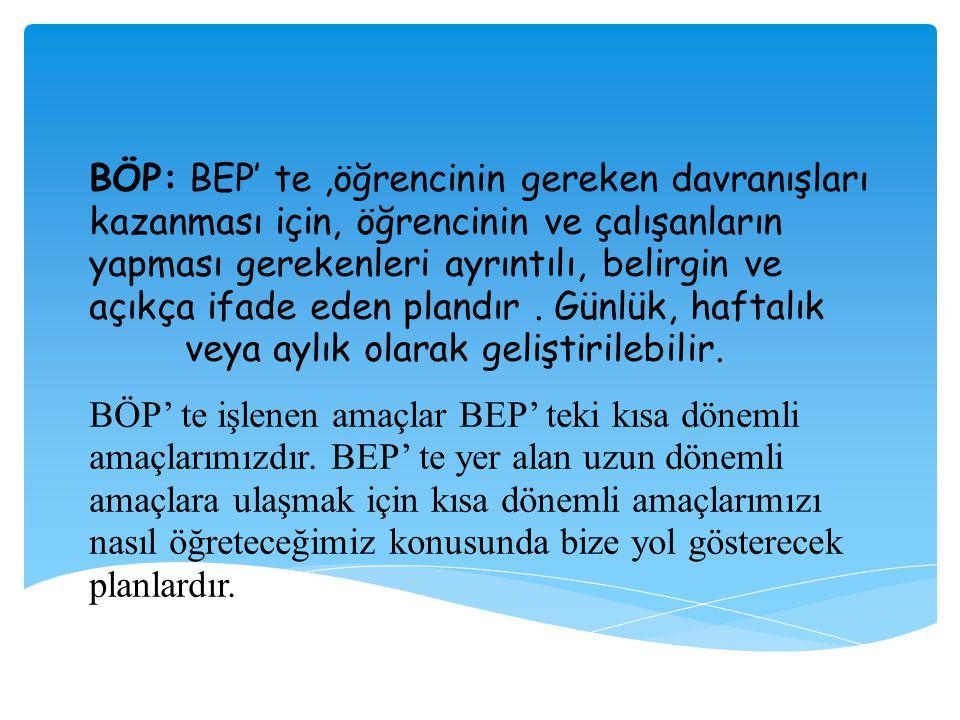 BÖP: BEP' te,öğrencinin gereken davranışları kazanması için, öğrencinin ve çalışanların yapması gerekenleri ayrıntılı, belirgin ve açıkça ifade eden p