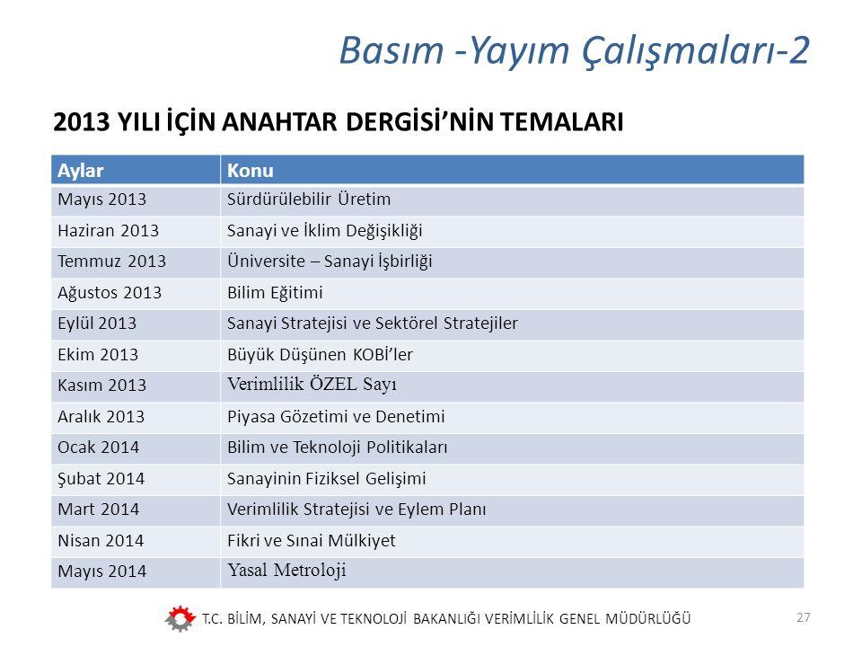 T.C. BİLİM, SANAYİ VE TEKNOLOJİ BAKANLIĞI VERİMLİLİK GENEL MÜDÜRLÜĞÜ Basım -Yayım Çalışmaları-2 2013 YILI İÇİN ANAHTAR DERGİSİ'NİN TEMALARI 27 AylarKo
