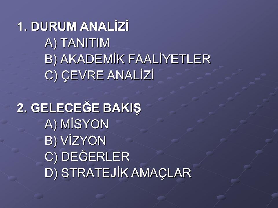 1. DURUM ANALİZİ A) TANITIM A) TANITIM B) AKADEMİK FAALİYETLER B) AKADEMİK FAALİYETLER C) ÇEVRE ANALİZİ C) ÇEVRE ANALİZİ 2. GELECEĞE BAKIŞ A) MİSYON A
