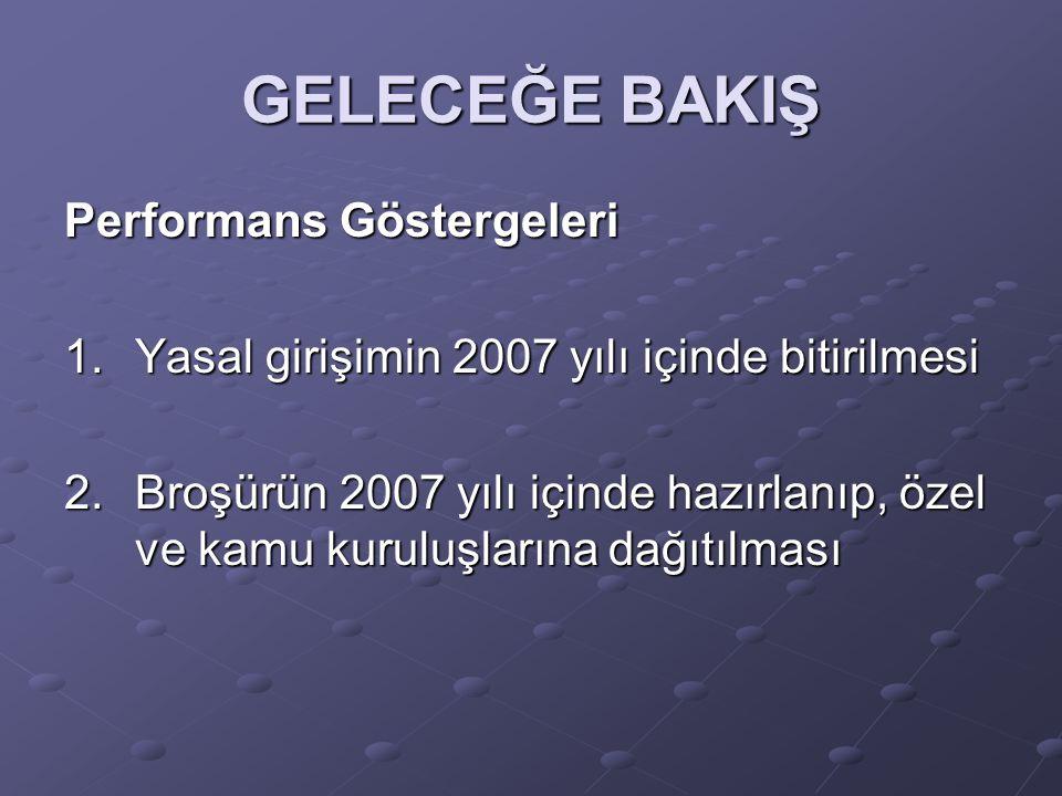 GELECEĞE BAKIŞ Performans Göstergeleri 1.Yasal girişimin 2007 yılı içinde bitirilmesi 2.Broşürün 2007 yılı içinde hazırlanıp, özel ve kamu kuruluşlarına dağıtılması