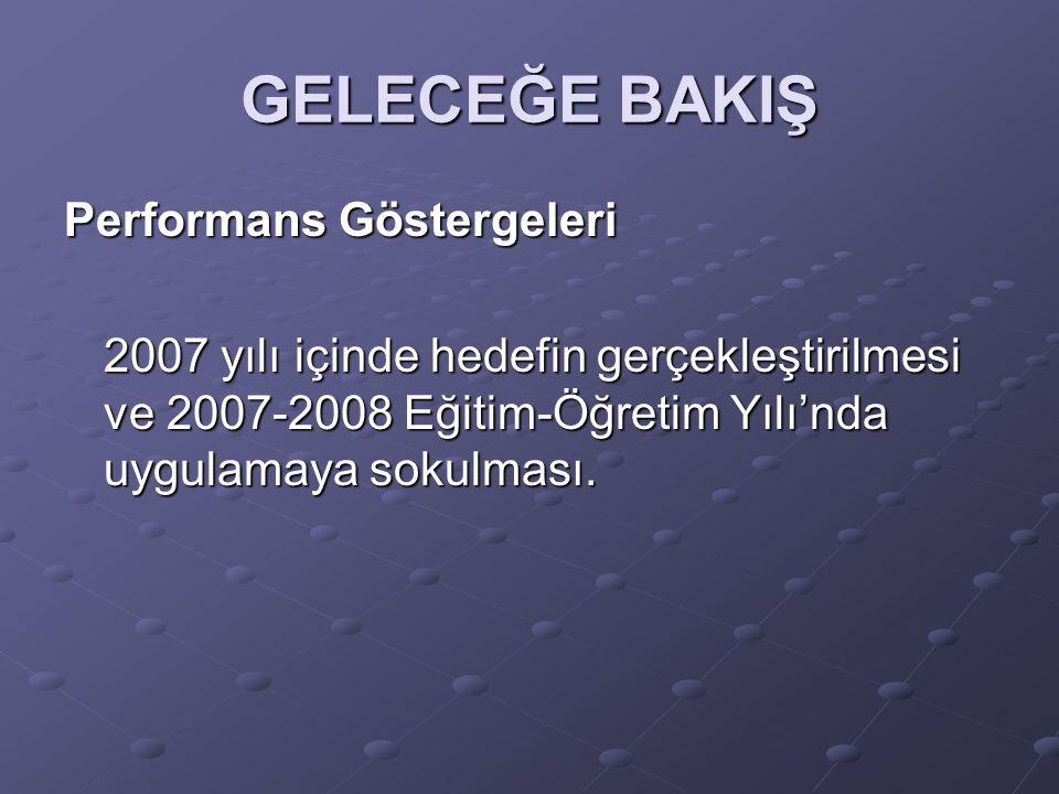 GELECEĞE BAKIŞ Performans Göstergeleri 2007 yılı içinde hedefin gerçekleştirilmesi ve 2007-2008 Eğitim-Öğretim Yılı'nda uygulamaya sokulması.