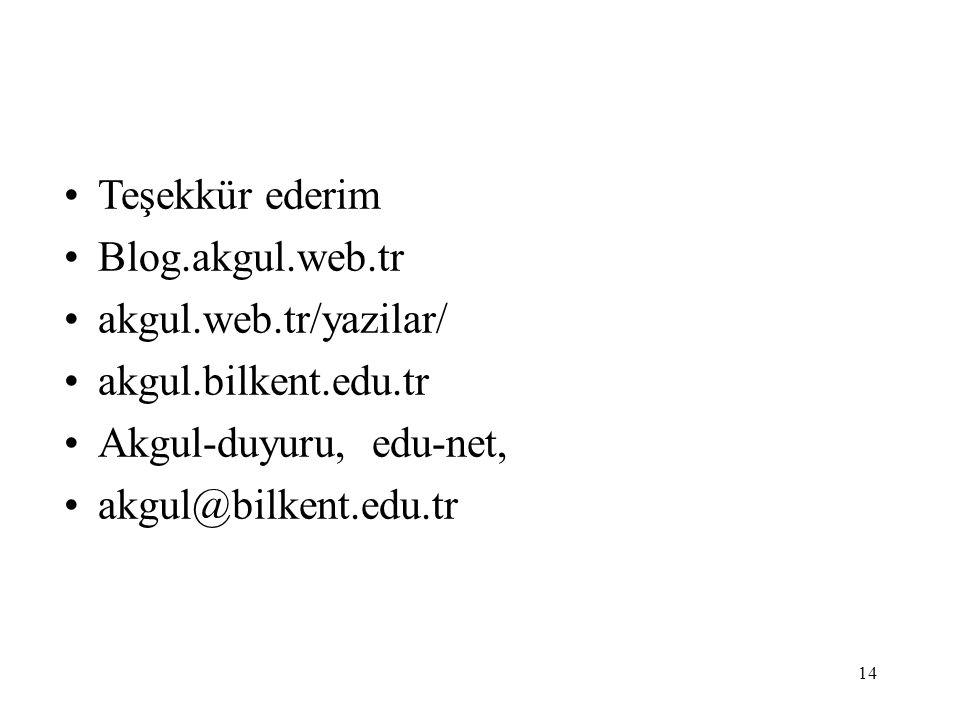 14 Teşekkür ederim Blog.akgul.web.tr akgul.web.tr/yazilar/ akgul.bilkent.edu.tr Akgul-duyuru, edu-net, akgul@bilkent.edu.tr