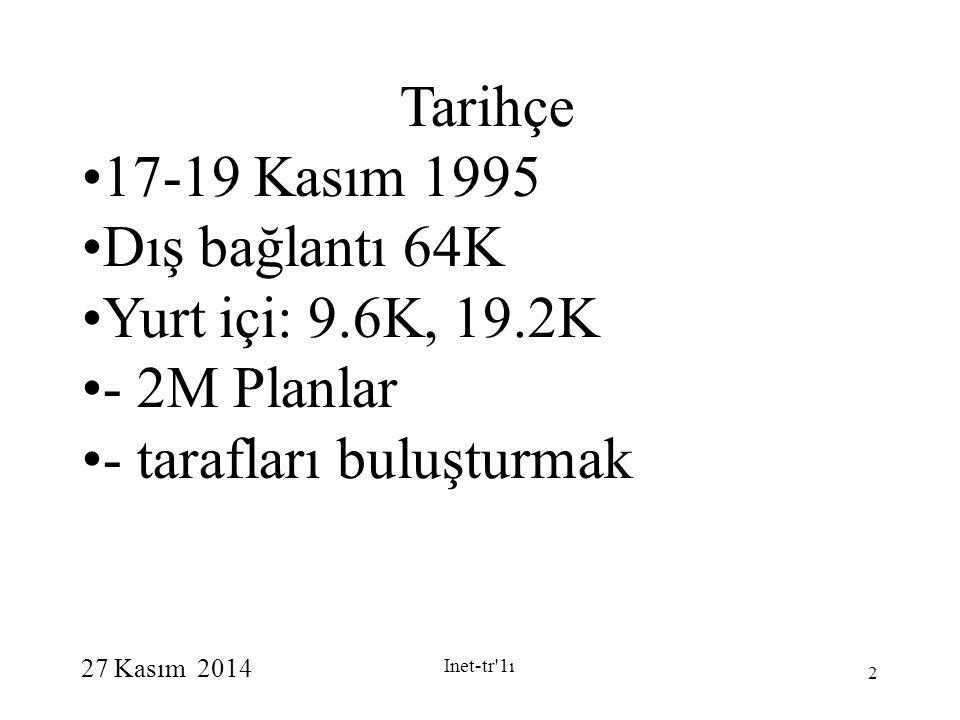 27 Kasım 2014 Inet-tr'1ı 2 Tarihçe 17-19 Kasım 1995 Dış bağlantı 64K Yurt içi: 9.6K, 19.2K - 2M Planlar - tarafları buluşturmak
