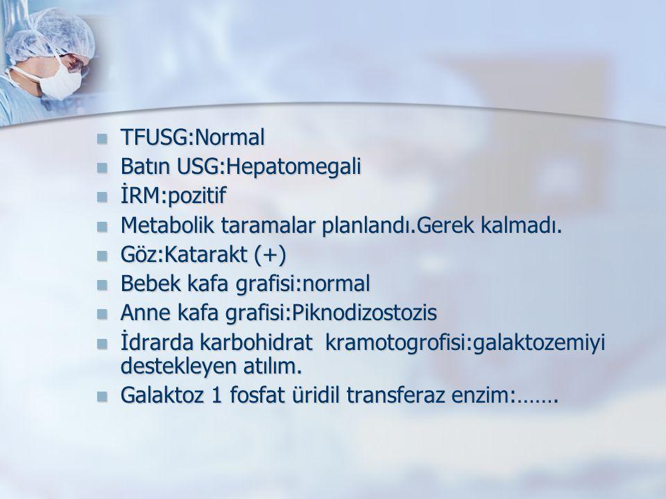 TFUSG:Normal TFUSG:Normal Batın USG:Hepatomegali Batın USG:Hepatomegali İRM:pozitif İRM:pozitif Metabolik taramalar planlandı.Gerek kalmadı. Metabolik