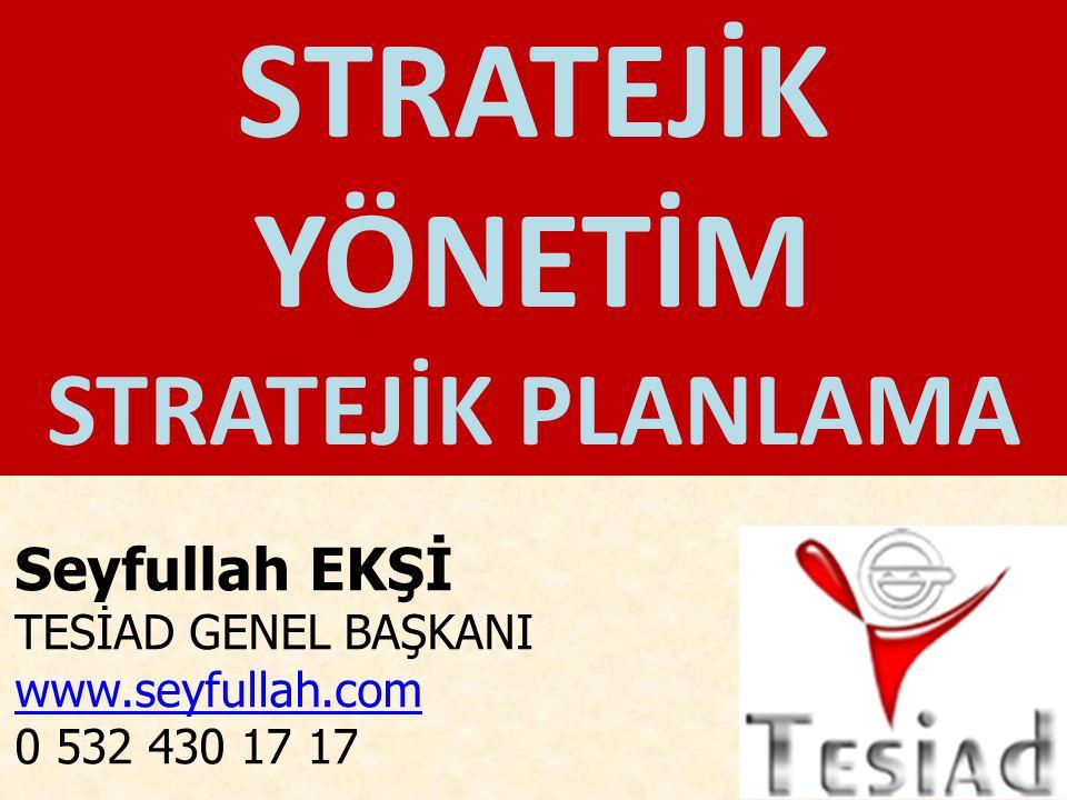 Stratejik Yönetim Çevrimi Misyon / Vizyon / Değerler Dış Çevre Analizi İç Çevre Analizi Ana iş hedefleri Stratejiler Uygulama Planları Uygulama İzleme Durum Analizi