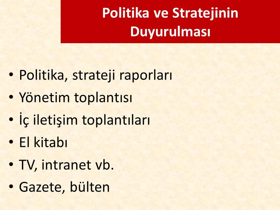 Politika ve Stratejinin Duyurulması Politika, strateji raporları Yönetim toplantısı İç iletişim toplantıları El kitabı TV, intranet vb. Gazete, bülten