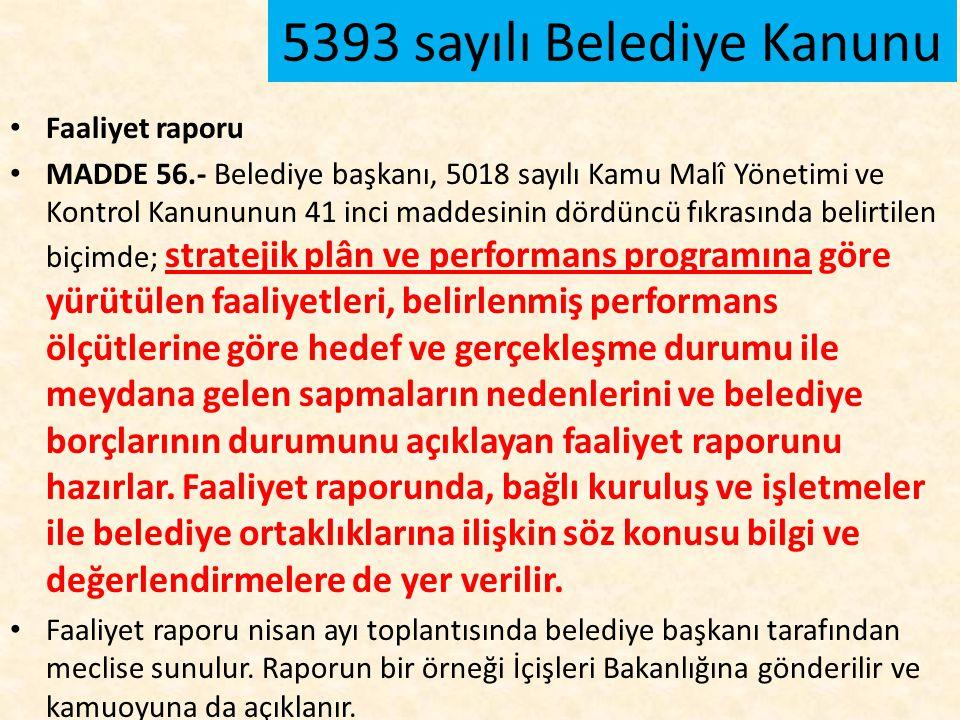 Faaliyet raporu MADDE 56.- Belediye başkanı, 5018 sayılı Kamu Malî Yönetimi ve Kontrol Kanununun 41 inci maddesinin dördüncü fıkrasında belirtilen biç