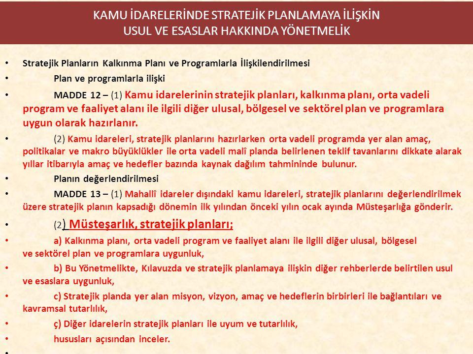 KAMU İDARELERİNDE STRATEJİK PLANLAMAYA İLİŞKİN USUL VE ESASLAR HAKKINDA YÖNETMELİK Stratejik Planların Kalkınma Planı ve Programlarla İlişkilendirilme