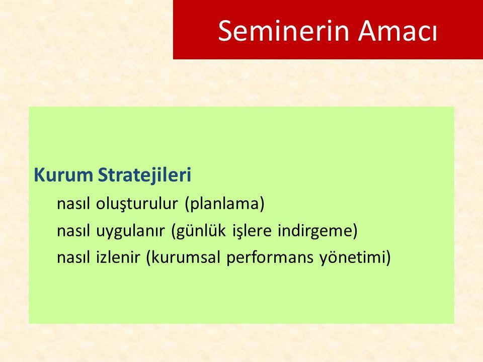 Seminerin Amacı Kurum Stratejileri nasıl oluşturulur (planlama) nasıl uygulanır (günlük işlere indirgeme) nasıl izlenir (kurumsal performans yönetimi)