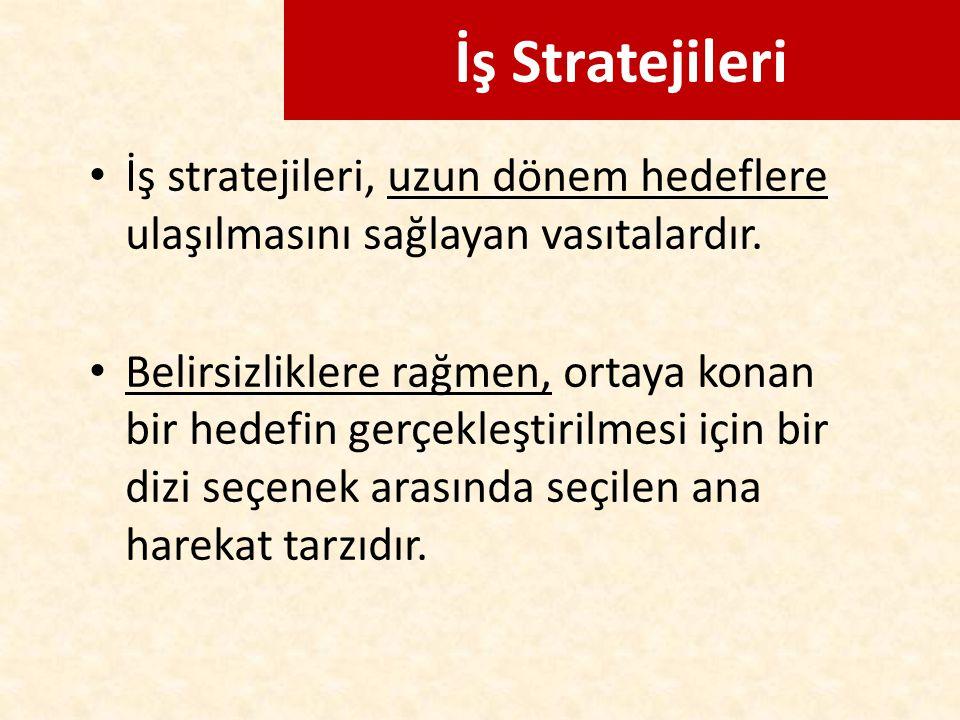 İş Stratejileri İş stratejileri, uzun dönem hedeflere ulaşılmasını sağlayan vasıtalardır. Belirsizliklere rağmen, ortaya konan bir hedefin gerçekleşti
