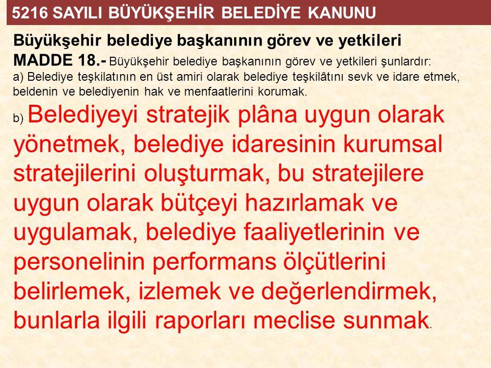 Büyükşehir belediye başkanının görev ve yetkileri MADDE 18.- Büyükşehir belediye başkanının görev ve yetkileri şunlardır: a) Belediye teşkilatının en