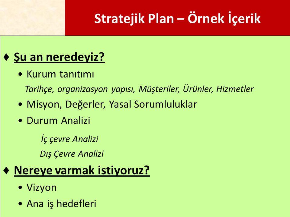 Stratejik Plan – Örnek İçerik ♦ Şu an neredeyiz? Kurum tanıtımı Tarihçe, organizasyon yapısı, Müşteriler, Ürünler, Hizmetler Misyon, Değerler, Yasal S