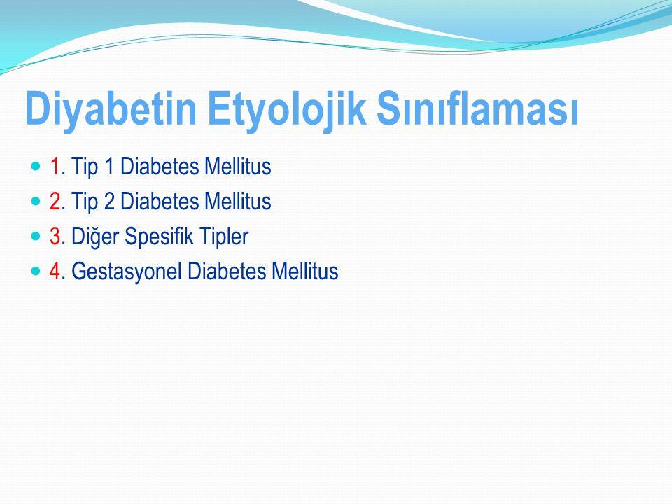 Diyabetin Etyolojik Sınıflaması 1. Tip 1 Diabetes Mellitus 2. Tip 2 Diabetes Mellitus 3. Diğer Spesifik Tipler 4. Gestasyonel Diabetes Mellitus