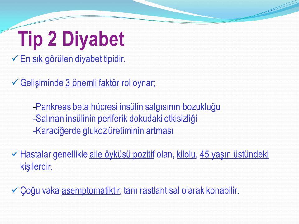Tip 2 Diyabet En sık görülen diyabet tipidir. Gelişiminde 3 önemli faktör rol oynar; -Pankreas beta hücresi insülin salgısının bozukluğu -Salınan insü