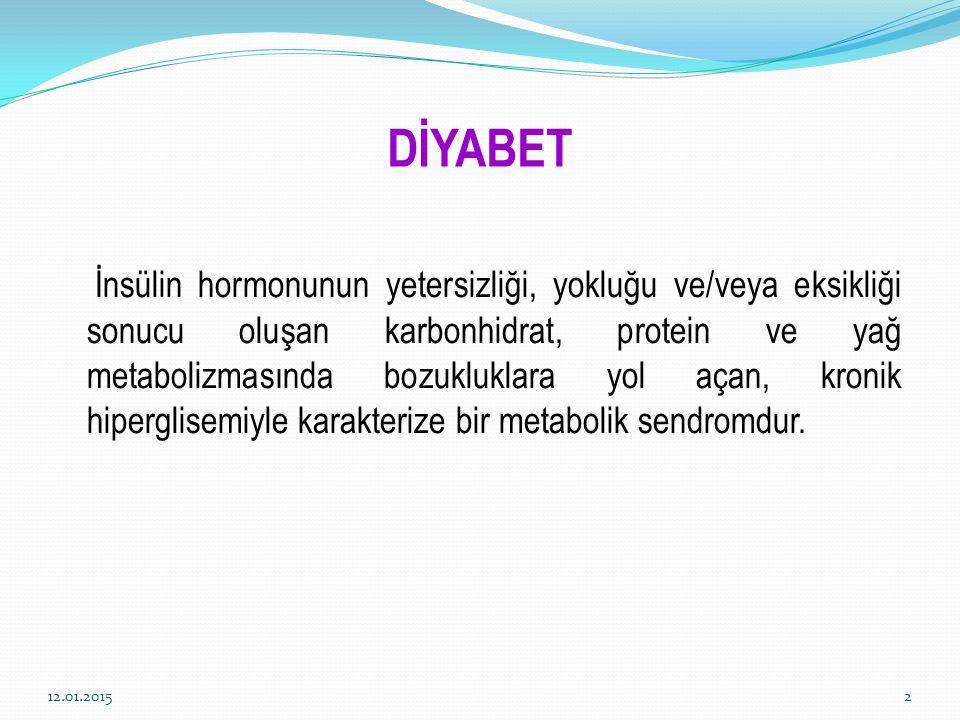 DİYABET İnsülin hormonunun yetersizliği, yokluğu ve/veya eksikliği sonucu oluşan karbonhidrat, protein ve yağ metabolizmasında bozukluklara yol açan,