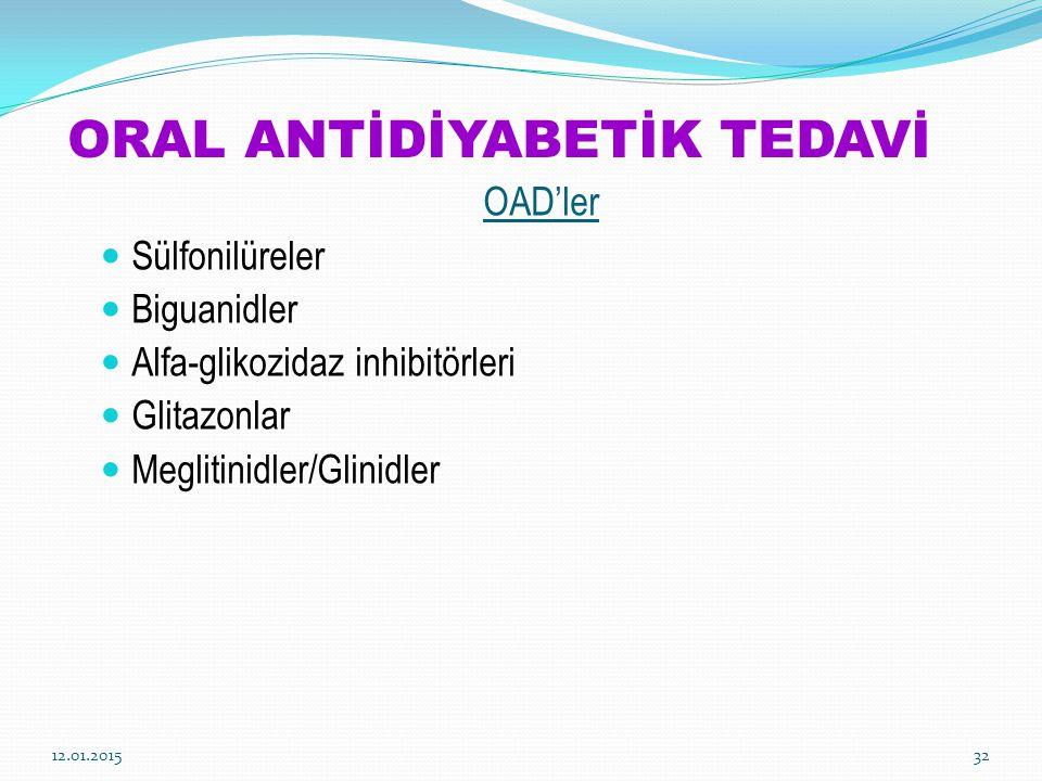 ORAL ANTİDİYABETİK TEDAVİ OAD'ler Sülfonilüreler Biguanidler Alfa-glikozidaz inhibitörleri Glitazonlar Meglitinidler/Glinidler 12.01.201532