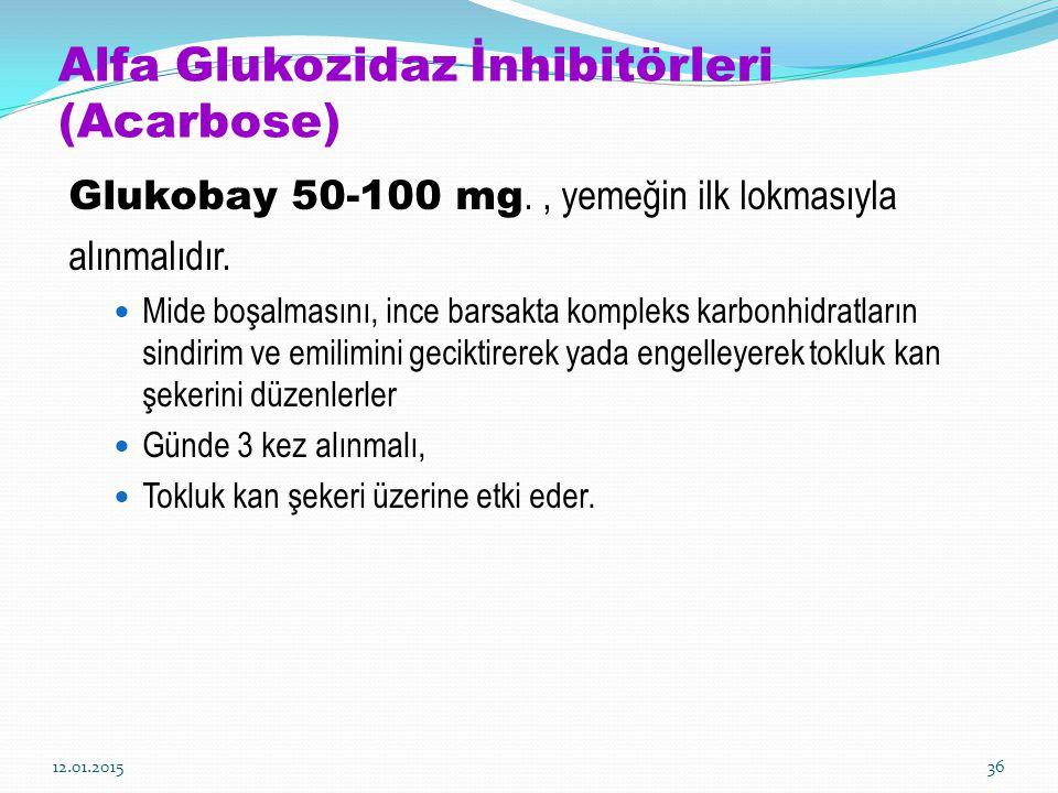 Alfa Glukozidaz İnhibitörleri (Acarbose) Glukobay 50-100 mg., yemeğin ilk lokmasıyla alınmalıdır. Mide boşalmasını, ince barsakta kompleks karbonhidra
