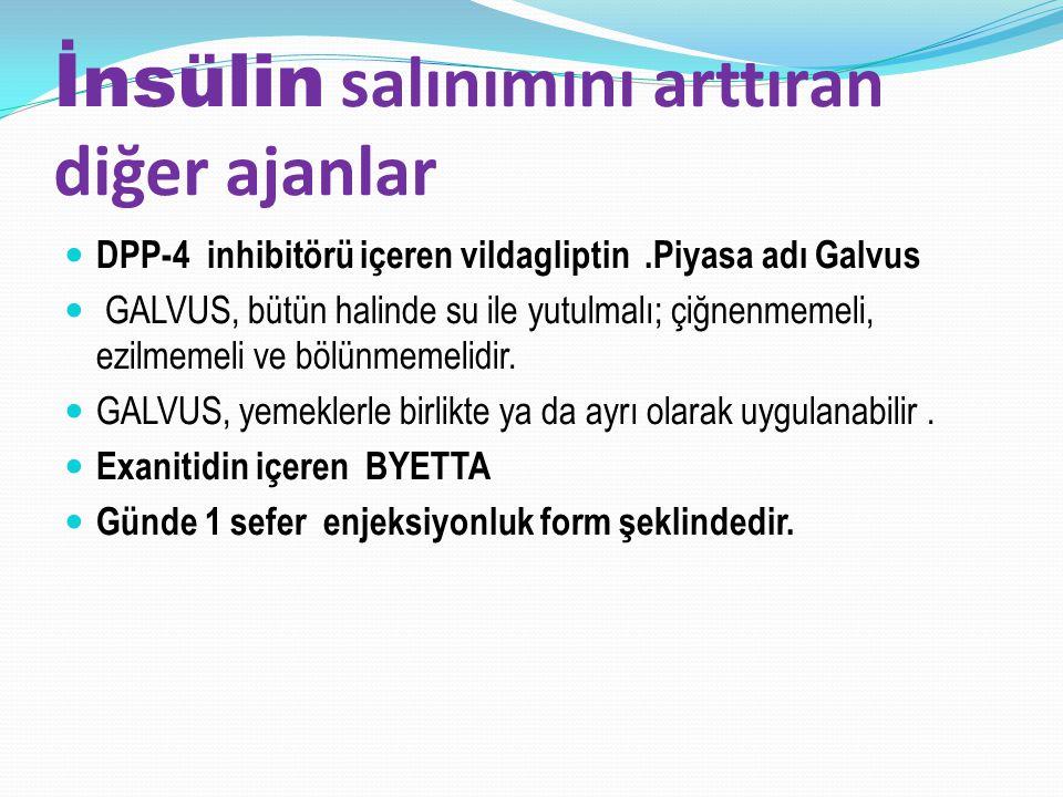 İnsülin salınımını arttıran diğer ajanlar DPP-4 inhibitörü içeren vildagliptin.Piyasa adı Galvus GALVUS, bütün halinde su ile yutulmalı; çiğnenmemeli,