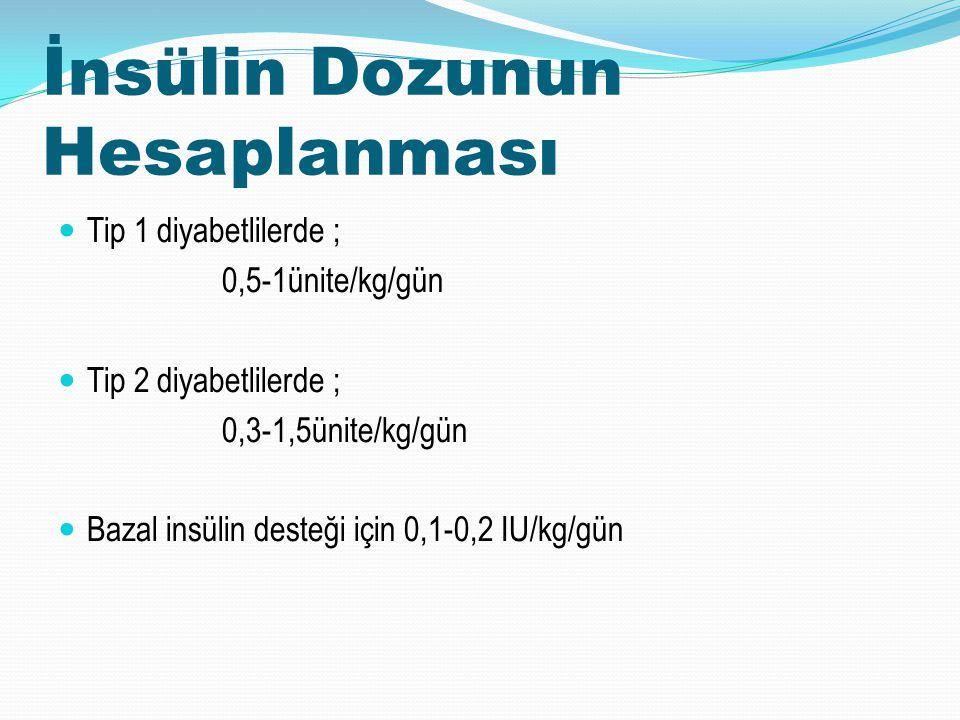 İnsülin Dozunun Hesaplanması Tip 1 diyabetlilerde ; 0,5-1ünite/kg/gün Tip 2 diyabetlilerde ; 0,3-1,5ünite/kg/gün Bazal insülin desteği için 0,1-0,2 IU
