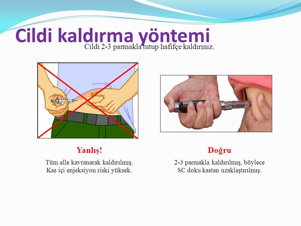 Cildi kaldırma yöntemi Cildi 2-3 parmakla tutup hafifçe kaldırınız. Yanlış! Tüm elle kavranarak kaldırılmış. Kas içi enjeksiyon riski yüksek. Doğru 2-
