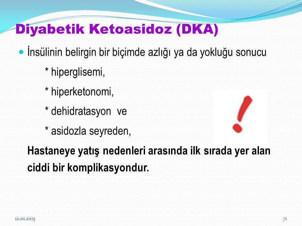Diyabetik Ketoasidoz (DKA) İnsülinin belirgin bir biçimde azlığı ya da yokluğu sonucu * hiperglisemi, * hiperketonomi, * dehidratasyon ve * asidozla s