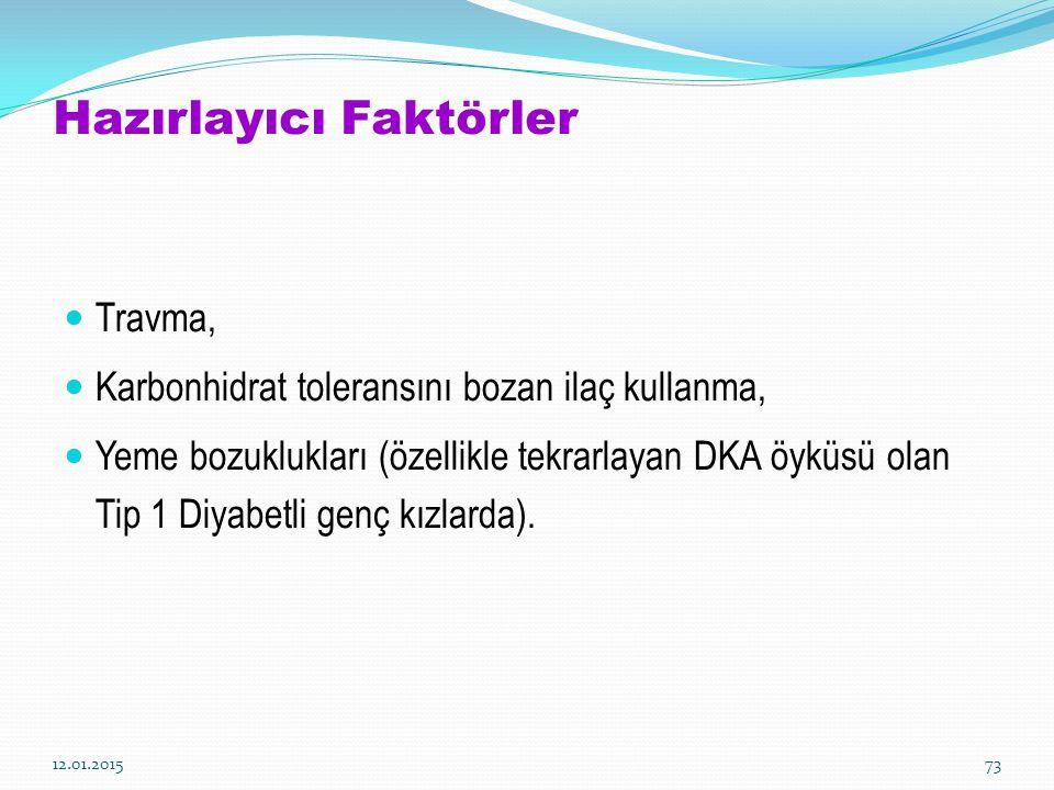 12.01.201573 Hazırlayıcı Faktörler Travma, Karbonhidrat toleransını bozan ilaç kullanma, Yeme bozuklukları (özellikle tekrarlayan DKA öyküsü olan Tip