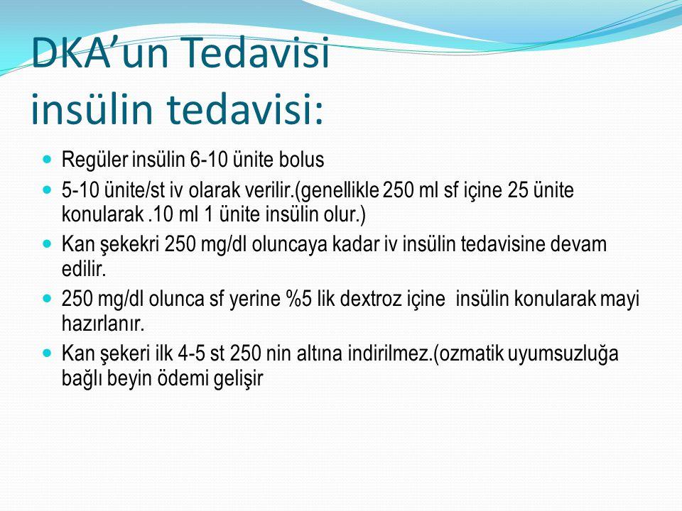 DKA'un Tedavisi insülin tedavisi: Regüler insülin 6-10 ünite bolus 5-10 ünite/st iv olarak verilir.(genellikle 250 ml sf içine 25 ünite konularak.10 m