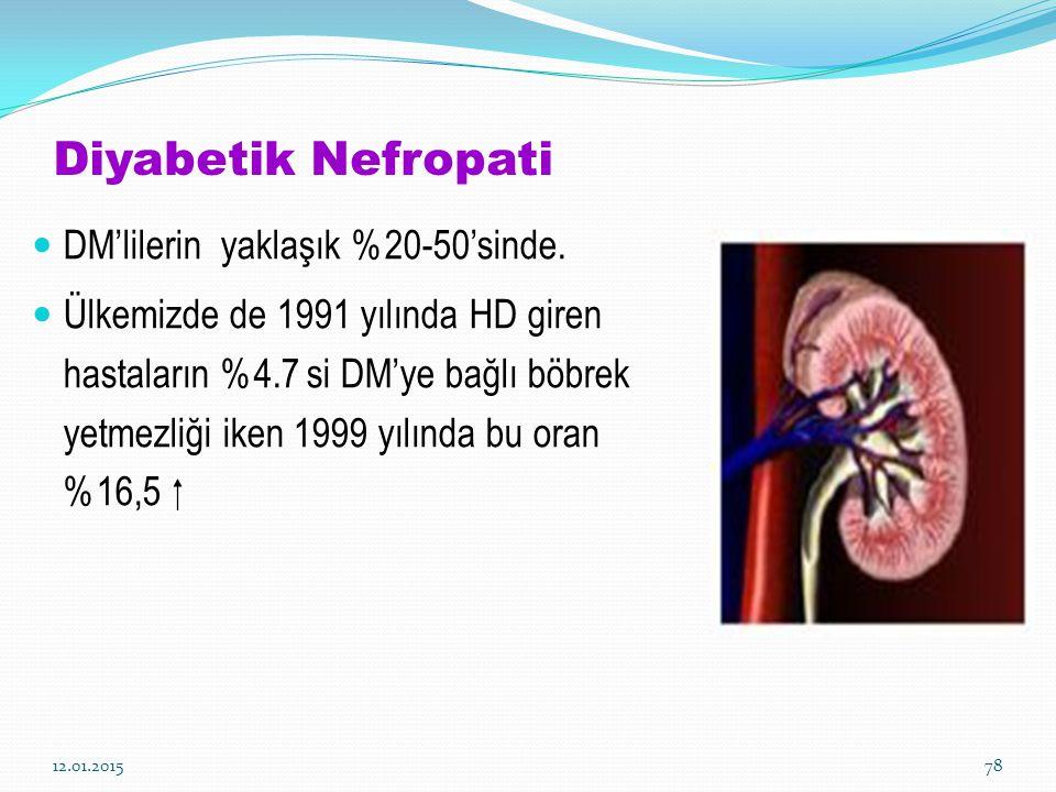Diyabetik Nefropati DM'lilerin yaklaşık %20-50'sinde. Ülkemizde de 1991 yılında HD giren hastaların %4.7 si DM'ye bağlı böbrek yetmezliği iken 1999 yı