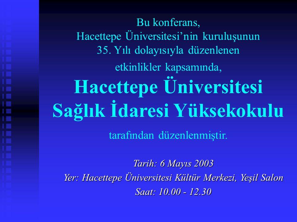 Bu konferans, Hacettepe Üniversitesi'nin kuruluşunun 35. Yılı dolayısıyla düzenlenen etkinlikler kapsamında, Hacettepe Üniversitesi Sağlık İdaresi Yük