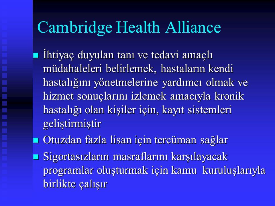 Cambridge Health Alliance İhtiyaç duyulan tanı ve tedavi amaçlı müdahaleleri belirlemek, hastaların kendi hastalığını yönetmelerine yardımcı olmak ve