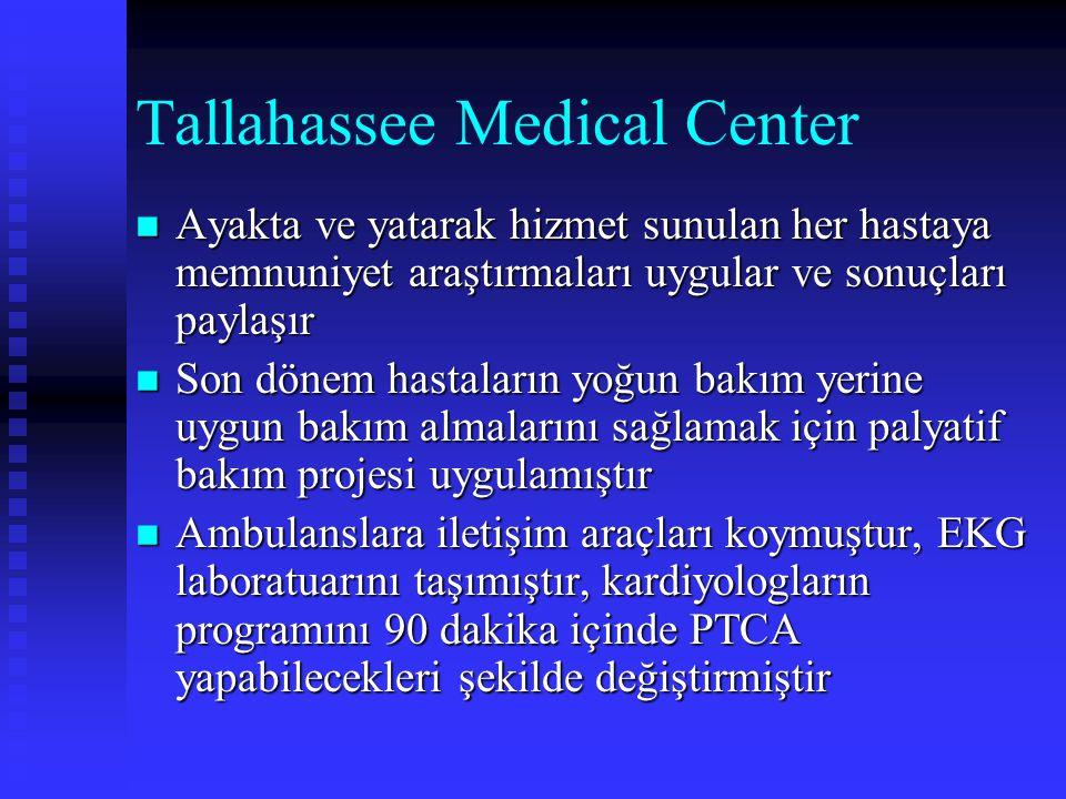 Tallahassee Medical Center Ayakta ve yatarak hizmet sunulan her hastaya memnuniyet araştırmaları uygular ve sonuçları paylaşır Ayakta ve yatarak hizme
