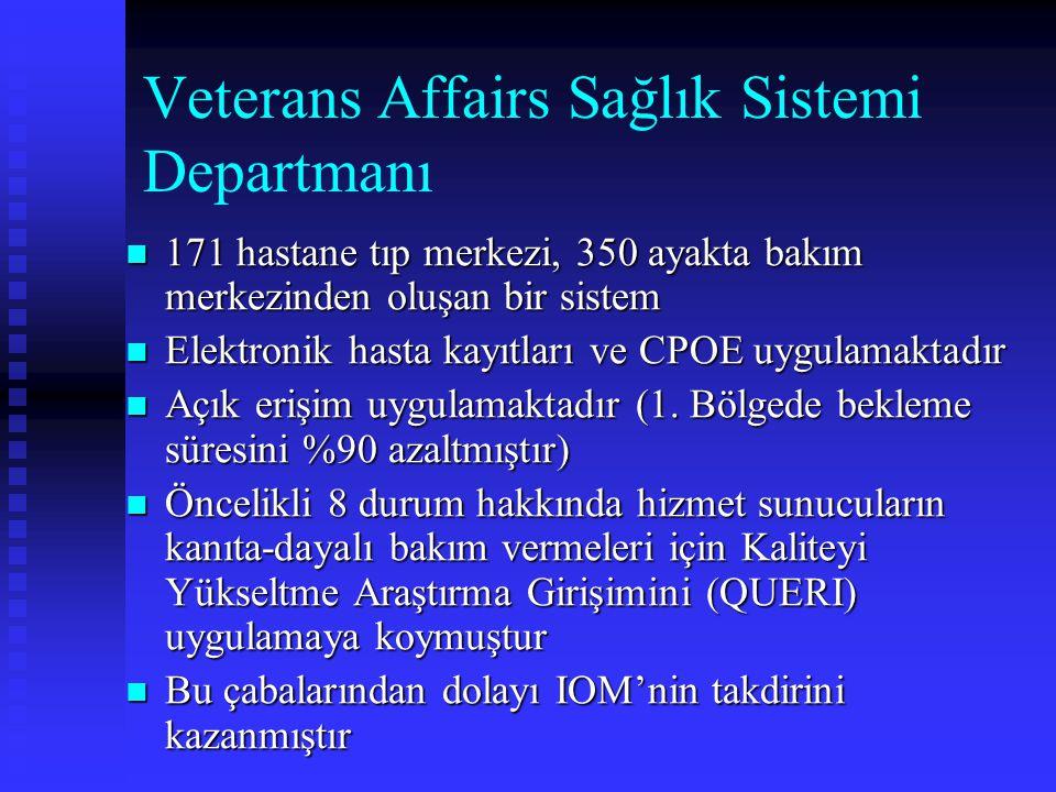 Veterans Affairs Sağlık Sistemi Departmanı 171 hastane tıp merkezi, 350 ayakta bakım merkezinden oluşan bir sistem 171 hastane tıp merkezi, 350 ayakta