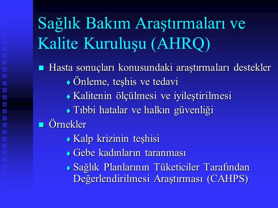 Sağlık Bakım Araştırmaları ve Kalite Kuruluşu (AHRQ) Hasta sonuçları konusundaki araştırmaları destekler Hasta sonuçları konusundaki araştırmaları des