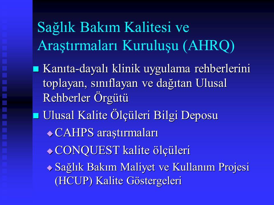 Sağlık Bakım Kalitesi ve Araştırmaları Kuruluşu (AHRQ) Kanıta-dayalı klinik uygulama rehberlerini toplayan, sınıflayan ve dağıtan Ulusal Rehberler Örg