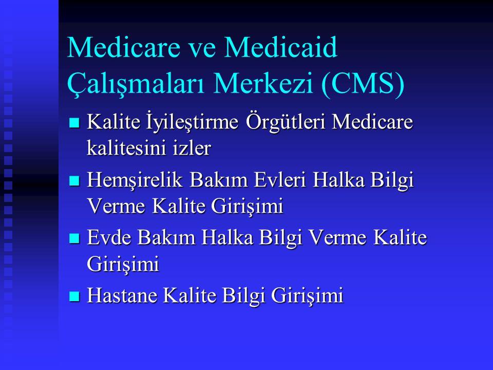 Medicare ve Medicaid Çalışmaları Merkezi (CMS) Kalite İyileştirme Örgütleri Medicare kalitesini izler Kalite İyileştirme Örgütleri Medicare kalitesini